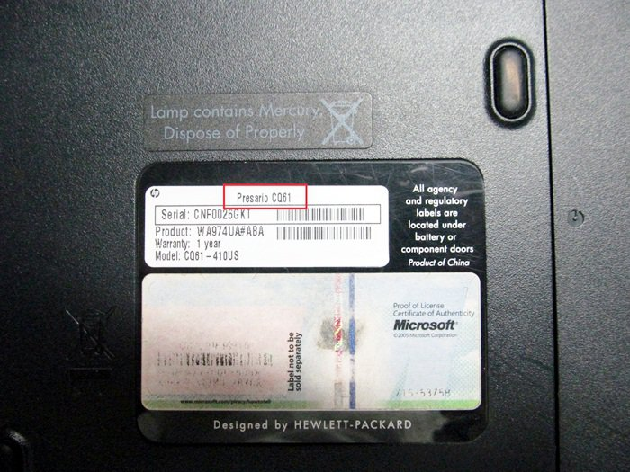 Where to find Compaq model number