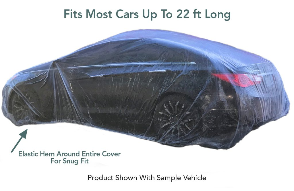 5 Pack - Universal Plastic Disposable Car Cover (Fits Most Cars)