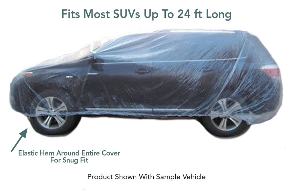 5 Pack - Universal Plastic Disposable SUV Cover (Fits Most SUVs)